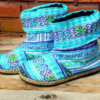 Womens Boots Ankle High Cuffed Blue Funky Mixed Ethnic Hmong Embroidery
