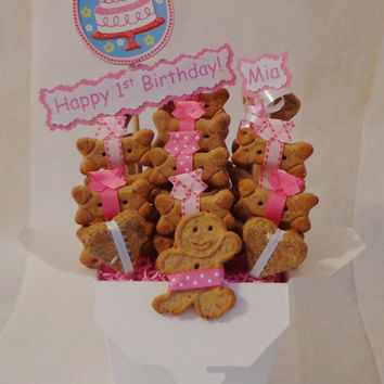 Dog birthday gift, Dog biscuit treat dog gift basket, unique dog gift, custom, personalized dog gift, pink