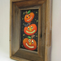 Primitive and Rustic Framed Barn Wood Stacked Pumpkins Tole Painted