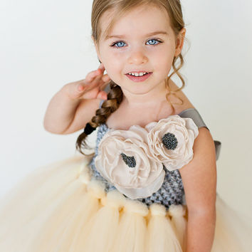 Anastasia Flower Girl Tutu Dress with Double Handmade Rose