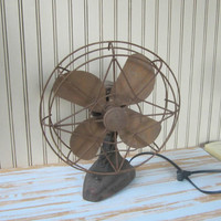 Vintage Electric Fan Wizard Oscillates 1 Speed Desk or Wall Mount