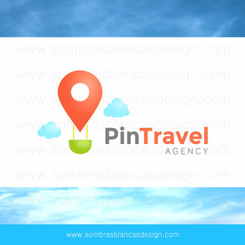 OOAK Premade Logo Design - Pin Hot Air Balloon - Perfect for a travel agency or a tourism blog