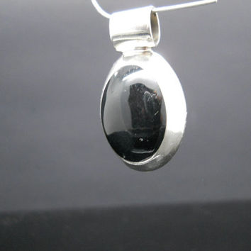 Onyx Pendant Sterling Silver Oval Thick Mexico 925