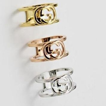 GUCCI Trending Women Stylish Double G Letter Titanium Steel Ring(3-Color) I13076-1