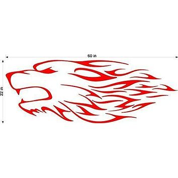 Wolf Speed Tribal Animal Flames Motor Cross Street Track Motorcycle Racing Trailer Decals Stickers Mural One Color 2 Graphics AF20