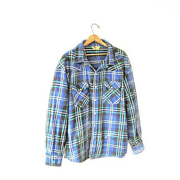 Vintage 80s Blue PLAID FLANNEL Pearl Snap Western Work Button Down Shirt Sz XL