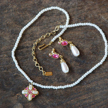 Vintage 1928 Pendant Necklace Pierced Dangle Earrings Pink Rhinestone Faux Pearl Wedding Prom 1990's // Vintage Designer Costume Jewelry