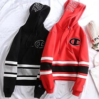 Champion Fashion Casual New Autumn Winter Women Men Embroidery Print Thick Sweater Hoodie Top