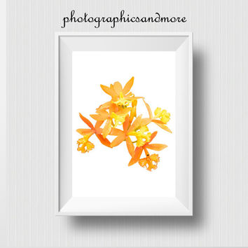Instant Download, Yellow Orchids, Orange, White, Modern Art, PNG, Transparent, Flower Photography, Flower Photo, Overlay, Photoshop, Prop