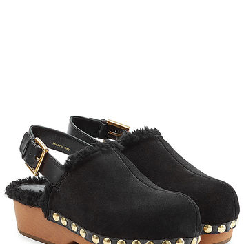 Alexander McQueen - Suede and Shearling Clogs