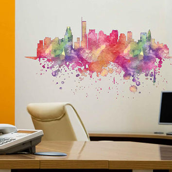 kcik1890 Full Color Wall decal Watercolor Boston city view Skyline living room bedroom