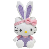 TY Basket Beanie Baby - HELLO KITTY (Bunny w/ Purple Overalls) (5.5 inch)