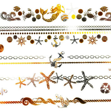 Metallic Temporary Flash Tattoo Gold Silver Festival Beach Holiday Gift Present Gift Present Flash Tattoo