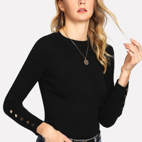 Snap Button Detail Fitted Sweater -SheIn(Sheinside)