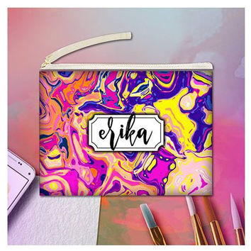 Multi-Colored personalized clutch, Monogrammed clutch purse, Artistic clutch