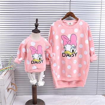 2016 family matching outfit mother and daughter clothes long sleeve  fashion cartoon tops matching mother daughtly Clothing