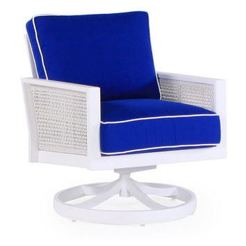 Parkview Woven Swivel Chair, Blue, Outdoor Club Chairs