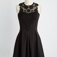 LBD Short Length Sleeveless Fit & Flare Noir and Away Dress