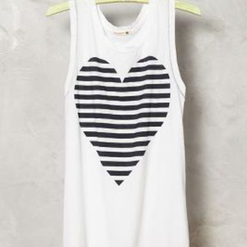 Striped Heart Tank by Sundry Black & White