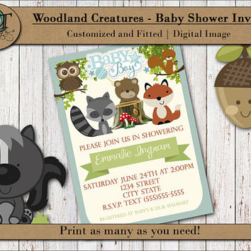 Custom Woodland Creatures Baby Shower Party Invite Includes a Photo 5x7 Theme Party Woodland Animals Announcement