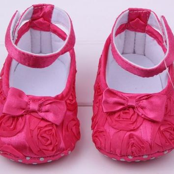 Lovely Mary Jane Girl Princess Shoes Infant Baby Shoes Toddler Shoes Soft Sole Flower 7 Color