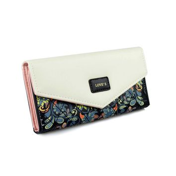 Fashion Envelope Bags Leather Ladies Day Clutch Bags for Women Long Flower Printing Women's Wallet Money Female Purse Card Bag