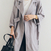 Gray Plaid Pocket Detail Coat