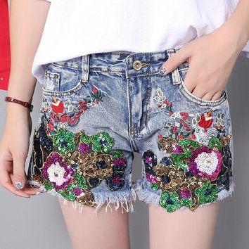 KL1198 Fashion embroidery sequin ripped summer denim shorts women mid waist short mujer bermuda feminina