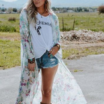 Morning Glory Floral Kimono Duster