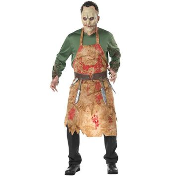 Male Scary Bloody Butcher Costume Horror Zombie Outfit Chef Uniform Halloween Costumes For Men Adult Cosplay Clothing With Mask