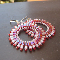 Ruby Red and Pearly White Earrings