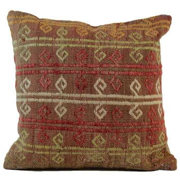 Stormy Red/Brown Liva Pattern Kilim Pillow Cover