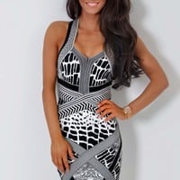 Invite LUXE Black and White Multi Print Bandage Dress | Pink Boutique