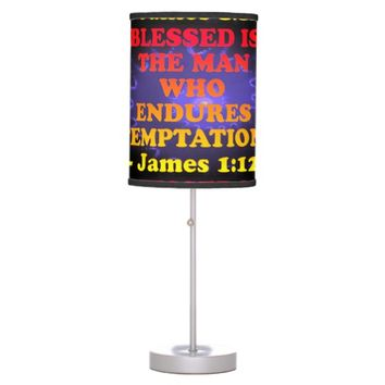 Bible verse from James 1:12. Table Lamp
