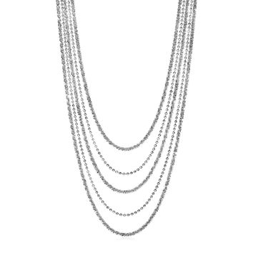 Graduated Multi Strand Chain Necklace in Sterling Silver