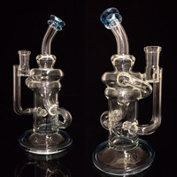 Phatass Glass KLEIN Water Pipe Clear w/color foot and mouth