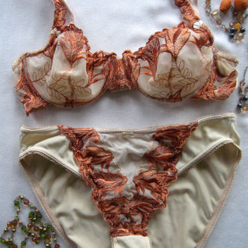 Vintage Woman Embroidered Sheer Bra Underwear Floral Bustier Sexy Bra and panties - 36 B, 10 (USA) 80B, 40 (EUR)
