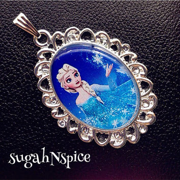 Frozen Elsa Necklace Frozen Pendant Elsa Jewelry Inspired Necklace Pendant Cabochon for Chunky Bubblegum necklaces Frozen Pendant