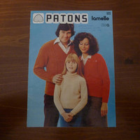 """Vintage 1970s Patons """"Lamelle"""" Knitting Book No. 523 / Retro Mens, Womens and Children's Designs / Great Condition"""