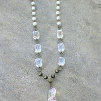 Pink Panache Long Pearl and Crystal Beaded Necklace with Tassel