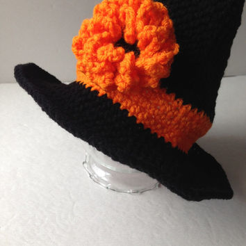 Witch Hat - Halloween - Hat Costume - Orange and Black - Handmade Crochet - Ready to Ship