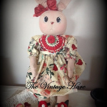 Primitive Love Bunny French Inspired Folk Art Rag Doll HaFair, AB4B, OFG,