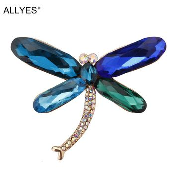 ALLYES Crystal Dragonfly Brooches For Women Girls Clothes Scarf Pin Vintage Elegant Large Insect Brooch Female Jewelry