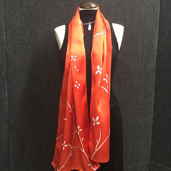 Garden of Salmon - Hand Painted Silk Scarf