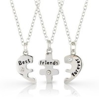 Best Friends Forever three part necklace, friendship necklace includes beautiful gift bag for each necklace.:Amazon:Jewelry