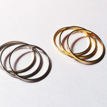 6 Above the Knuckle Rings - 3 gold rings and 3 chrome silver rings - set of 6 stackable midi rings