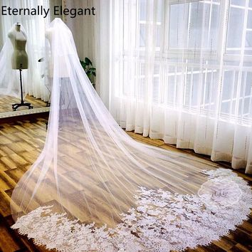 3*3 Meter White Ivory Cathedral Wedding Veils Long Lace Edge Bridal Veil with Comb Wedding Accessories Mantilla Wedding Veil E24
