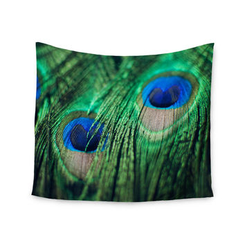 "Chelsea Victoria ""Peacock Feathers"" Blue Green Wall Tapestry"