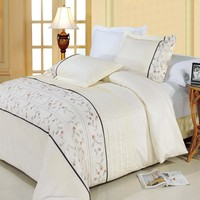 Anna Combed cotton Embroidered Duvet Cover Set