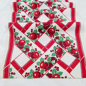 Vintage Towel Kitchen Towel Tea Towel Dish Towel Dishcloth Dish Cloth Red Apples Cherries Fruit Towel Unused